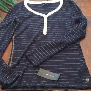 Tommy Hilfiger Thermal Shirt Blue Medium Women NEW